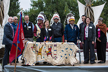 Photo of Oglala Sioux Tribal Leadership and FEMA dignitaries commemorate Federal Tribal Agreement signing (photo credit FEMA/Christopher Mardorf)