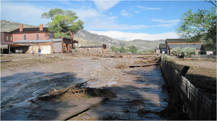 Photo of flooding aftermath of July 2013 in Bannack State Park, Montana (photo credit Carl Davis, U.S.  Forest Service).