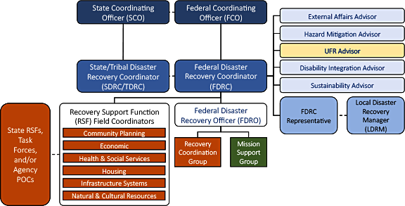 Organizational chart showing lines of communication and oversight between various positions and groups. The positions and groups are described below.
